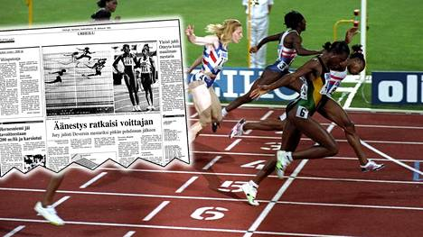 Merlene Ottey (etualalla) ja Gail Devers kävivät ikimuistoisen kamppailun maailman nopeimman naisen tittelistä Stuttgartissa 1993. Pystytkö sanomaan Helsingin Sanomien sivulla näkyvän maalikamerakuvan perusteella, kumpi voitti?