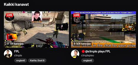 Vasemmalla oikean CS-tähden lähetys, oikealla valelähetys vanhalla materiaalilla. Kuvakaappaus on otettu Twitchin CS-osion suosituimmista lähetyksistä.