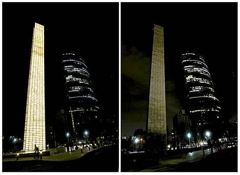 Mexico Cityssa sijaitseva valomonumentti sammui Earth hourin kunniaksi lauantaina. Valot sammutettiin ympäri maailmaa tunnin ajaksi klo 20.30.