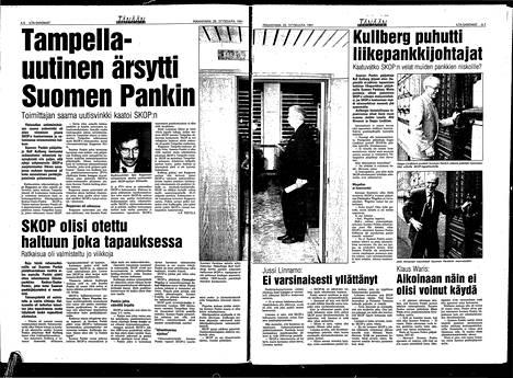 IS 20. syyskuuta 1991. Suomen Pankki oli ottanut Skopin haltuunsa edellisenä päivänä.