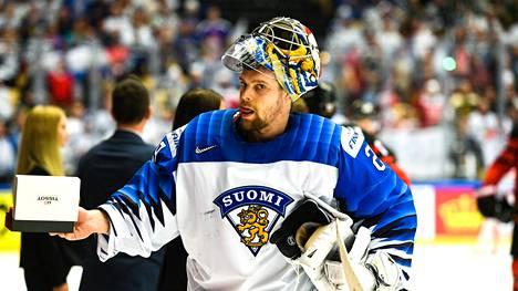 Harri Säteri pelasi Leijonien maalilla MM-kisoissa 2018.