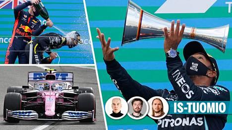 Lewis Hamilton (oik.) voitti Saksassa. Max Verstappen antoi Daniel Ricciardolle samppanjakylvyn. Nico Hülkenberg venyi hienoon ajosuoritukseen.