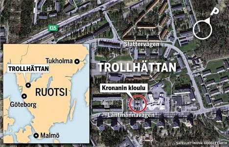 Grafiikka näyttää tapahtumapaikan, Trollhättanissa sijaitsevan Kronanin koulun sijainnin.