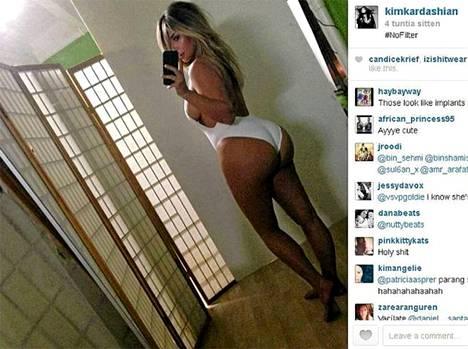 Tästä buumi alkoi - se alkuperäinen belfie. Kim Kardashianin belfie lokakuulta 2013.