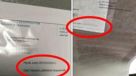 Jo kirjekuoren osoiteikkunasta oli pääteltävissä kirjeen sisältö.