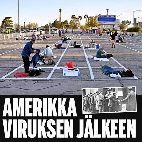 Las Vegasissa on maalattu parkkipaikoille ruudut, joissa kodittomat voivat nukkua pitäen samalla kiinni turvallisista etäisyyksistä. Pikkukuvassa joukko työttömäksi jääneitä miehiä jonotti halpoja omenoita 1930-luvun laman alussa.