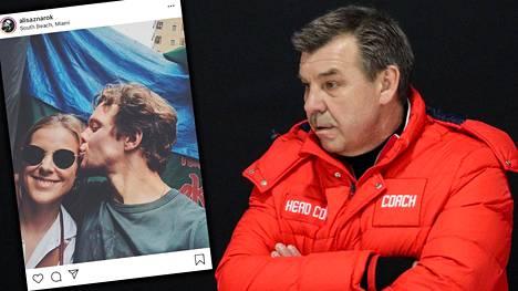 Menestysvalmentaja Oleg Znarok (oik.) sai tietää viimeisten joukossa tyttärensä Alisa Znarokin ja NHL-tähti Artemi Panarinin suhteesta.