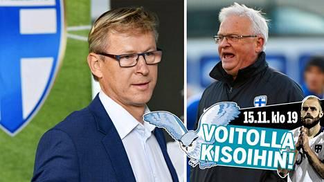 Hans Backe (oik.) oli Suomen A-maajoukkueen luotsi ennen Markku Kanervaa.