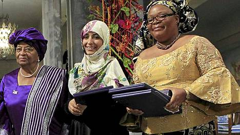 Nobelin rauhanpalkinnon saivat Liberian presidentti Ellen Johnson Sirleaf, liberialainen rauhanaktivisti Leymah Gbowee ja jemeniläinen demokratia-aktivisti Tawakkol Karman.