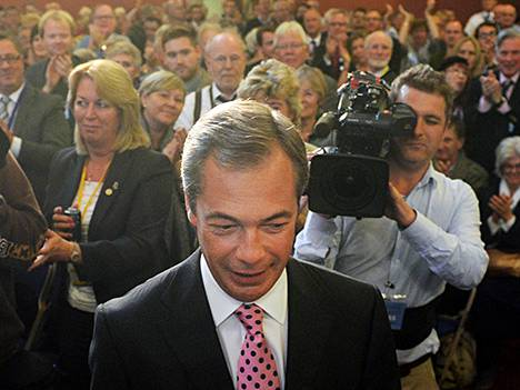 EU-kriittisen UKIP-puolueen puheenjohtaja Nigel Farage piti puheen puolueensa tilaisuudessa 20. syyskuuta.