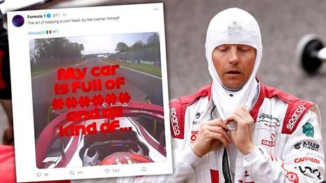 Kimi Räikkönen kuvattuna Imolan varikolla sunnuntaina.