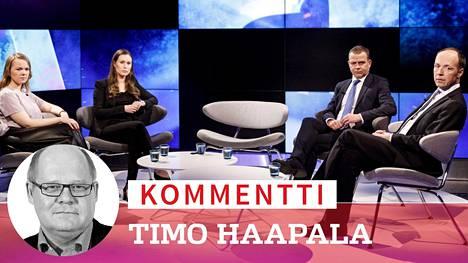 Kun puoluejohtajat kokoontuivat Ylen A-Studiossa 3. joulukuuta, koronasta ei ollut tietoakaan. Puoli vuotta tämän kuvan jälkeen Sanna Marin on nostanut puolueensa kirkkaasti ykköseksi ja Jussi Halla-ahon persujen kannatus on romahtanut.