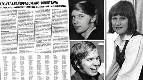 EEC:n hylkäämistä ajoivat 500 nimen joukossa mm. Sdp:n kansanedustajat Erkki Tuomioja (keskellä ylhäällä) ja Erkki Liikanen sekä SAK:n lakimiehenä tuolloin työskennellyt Tarja Halonen (sd).