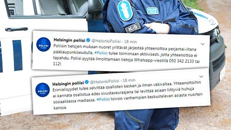Poliisi varoittaa Twitterissä nuorten suunnittelemasta yhteenotosta Helsingissä.