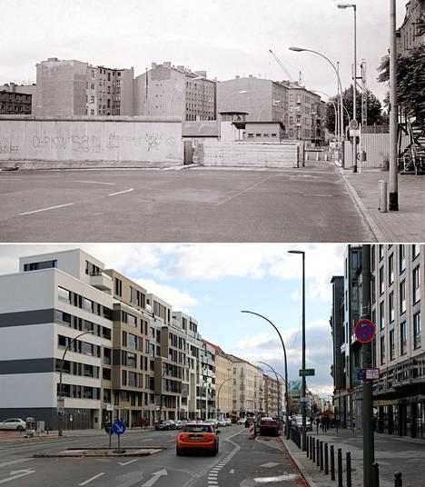 Chausseestrassen rajanylityspaikka ennen ja nyt.