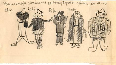 Eila Rossin pommisuojassa vuonna 1943 perheestään piirtämä kuva.