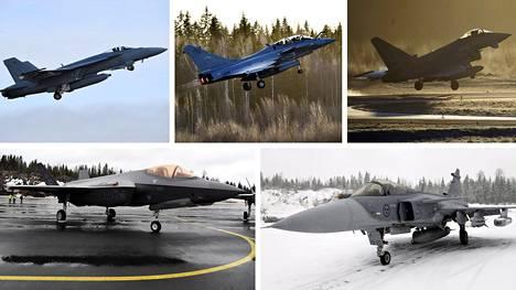 Puolustusvoimien logistiikkalaitos on vastaanottanut HX-hankkeen lopulliset tarjoukset viideltä hävittäjävalmistajalta. Kuvassa ylhäällä Boeing F/A-18 E Super Hornet, Dassault Rafale ja Eurofighter Typhoon, alhaalla Lockheed Martin F-35A ja Saab Gripen E.