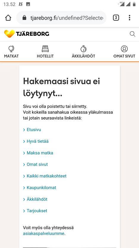 Reittilentopakettien varaaminen ei tänään onnistunut moneen tuntiin Tjäreborgin nettisivuilla.