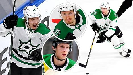 Joel Kiviranta (vas.), Esa Lindell, Roope Hintz ja Miro Heiskanen ovat neljän voiton päässä Stanley Cupista.