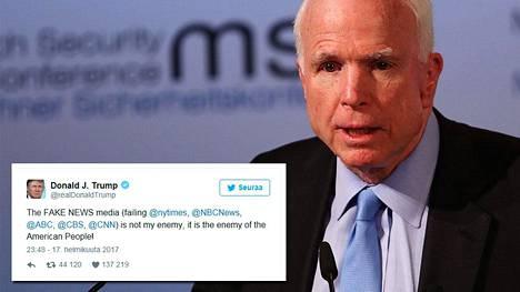–Kun tutkitaan historiaa, ensimmäinen asia, mitä diktaattorit tekevät, on vapaan lehdistön lopettaminen. Enkä sano, että presidentti Trump yrittää olla diktaattori. Sanon vain, että meidän pitäisi ottaa opiksi historiasta, John McCain sanoi.
