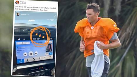 Tom Bradyn puhelinvalinta huvitti sosiaalisessa mediassa.