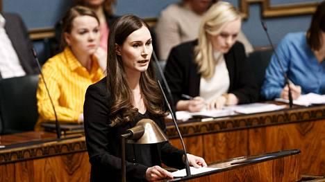 Pääministeri Sanna Marin puhui eduskunnassa.