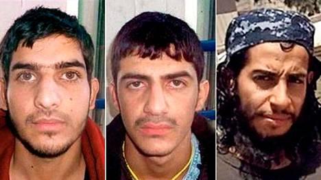 Väärillä papereilla esiintynyt mies nro 1 ja 2 sekä oikealla Ahdelhamid Abaaoud.