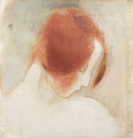 """""""Punainen pää II"""" (1915) edustaa Helene Schjerfbeckin 1910-luvun vahvaa luomiskautta, jonka kuluessa taiteilija vakiinnutti modernistista ilmaisuaan. Serlachius-museot hankki sen Lontoon Sothebyn huutokaupasta miljoonan punnan hinnalla vuonna 2016."""
