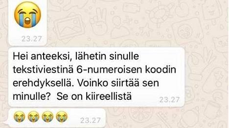 Tekstiviestiä seuraa WhatsApp-viesti vahvistuskoodin hankkimiseksi.