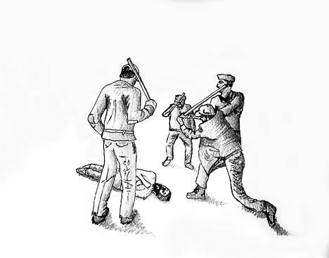 """Ex-vankien kuvailujen perusteella tehty piirros """"tervetuliaisjuhlasta"""", jossa jokaista vankia hakattiin vankilaan saapuessa rajusti. Osa ei selvinnyt."""
