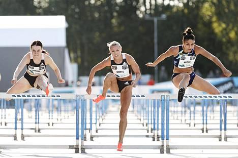 Huippukolmikko Reetta Hurske, Annimari Korte ja Nooralotta Neziri kilpailivat edellisen kerran Espoossa 27.6.