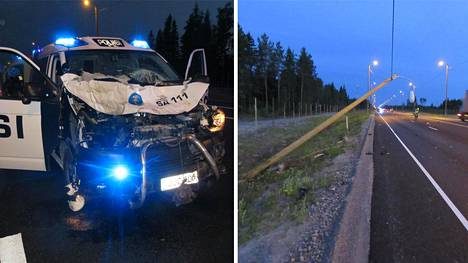 Hälytysajossa ollut partioauto vaurioitui kolarissa pahasti.