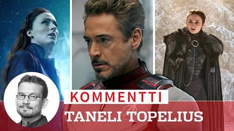 Sophie Turner näyttelee X-Men-elokuvissa Phoenix-mutanttia (vas.) ja Game of Thrones -sarjassa Sansa Starkia (oik.). Fanit ovat viime viikkoina joutuneet hyvästelemään myös Iron Manin (Robert Downey Jr, kesk.).