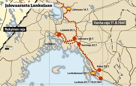 JR 8 komennetaan Laatokalle torjumaan suomalaisten sivustaan Lunkulan ja Mantsin saarille tehtyä maihinnousua.