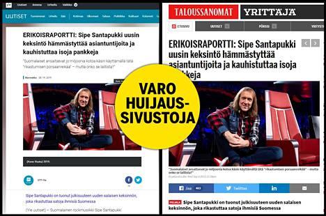 Sipe Santapukin kasvoilla varustettu valeuutinen on verkossa ainakin Ylen ja Taloussanomien nimissä.