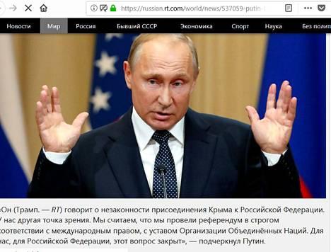 """RT-kanava raportoi tuoreeltaan Putinin sanomisista ja siteerasi häntä sanasta sanaan: """"Me järjestimme kansanäänestyksen""""."""