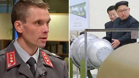 Maanpuolustuskorkeakoulun tutkijaupseeri kapteeni Juha Kukkola arvioi, että kyseessä saattaa todella olla vetypommi. Vasemmalla Pohjois-Korean uutistoimiston julkaisema kuva Kim Jong-unista antamassa neuvoa maan yhdinaseohjelmaan.