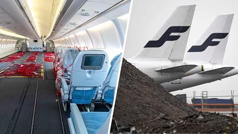Finnair on paikannut koronakriisin aiheuttamaa asiakaskatoa muun muassa kuljettamalla rahtia. Kuvan koneesta on poistettu penkkejä, jotta rahtia voi lastata myös matkustamoon.
