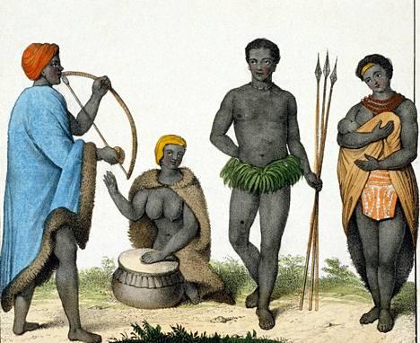 Etelä-Afrikan bantuväestöä 1800-luvun kuvataulussa, jolloin käytettiin termiä kafferi.