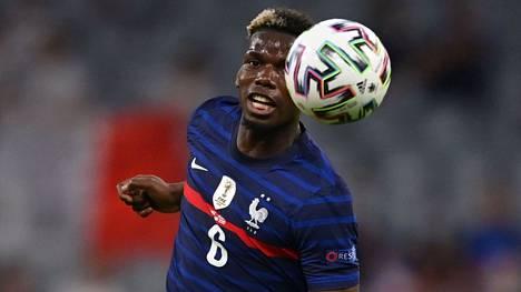 Ranskan Paul Pogba kuvattuna tiistain Saksa-ottelussa.