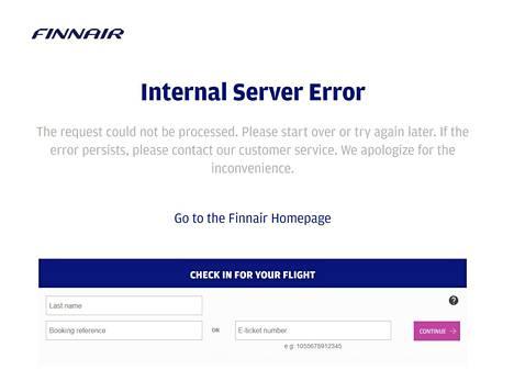 Finnairin verkkosivut ylikuormittuivat heti salasananvaihtokehotuksen jälkeen. Nyt ne toimivat taas normaalisti. Kuvakaappaus verkkosivulta.
