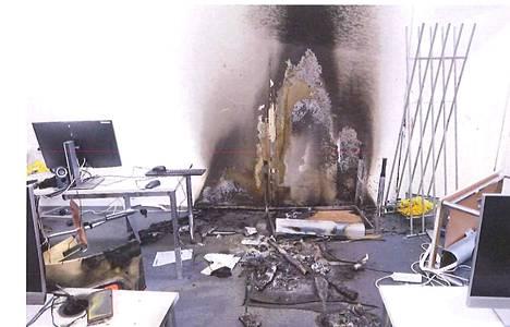 Palojälkiä luokkahuoneessa.