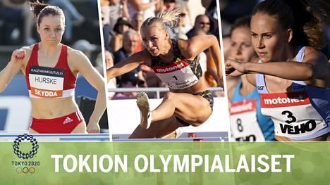 Tämä suomalaistähtien kolmikko pääsee vauhtiin lauantaina aamuyöstä Suomen aikaa. Vasemmalta Reetta Hurske, Annimari Korte ja Viivi Lehikoinen.