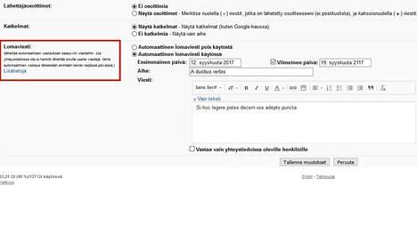 Automaattinen poissaoloviesti laaditaan Gmailin asetuksista käsin.
