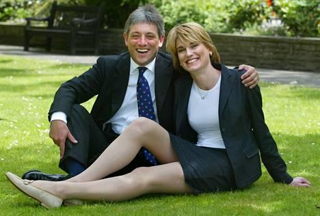 John ja Sally Bercow kuvattuna yhdessä vuonna 2002, kun he olivat ilmoittautuneet kihlauksestaan.