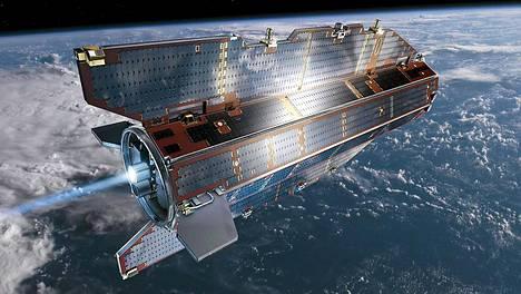 Coce-satelliitin ionimoottori sammui. Siksi se ei enää pysy kiertoradallaan. Kuvassa taiteilijan näkemys Gocesta.