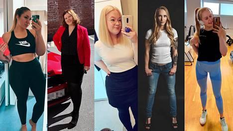 Tämän kuvan naiset käyttävät XS–XXL-kokoisia vaatteita.