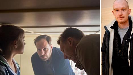 Teppo Airaksisen (oik.) ohjaaman lyhytelokuvassa Olavi (Juho Milonoff, kesk.) kutsuu naapurinsa (Pekka Strang) apuun, kun kesämökin katto on laskeutunut liian alas.