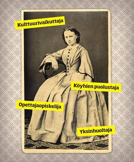 Minna Canth (1844–1897) jäi leskeksi 35-vuotiaana. Leski saattoi toimia itsellisenä kauppiaana sukupuolestaan huolimatta, ja menestyvä bisnes antoi mahdollisuudet kirjoittaa ja osallistua yhteiskunnalliseen keskusteluun.