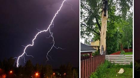 Tapanilan kaupunginosassa Helsingissä salama iski koivuun ja pirstoi suuren kaistaleen puun kuorta. Taustalla kuvituskuva.